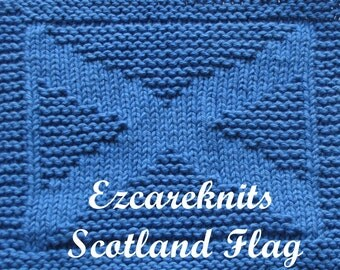 Knitting Cloth Pattern - SCOTLAND FLAG - PDF