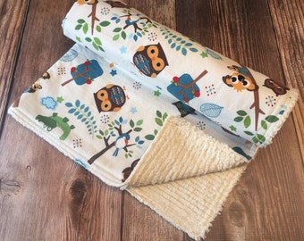 SALE! Ready to Ship! Woodland Blanket, Baby Toddler Blanket, Baby Blanket, Baby Stroller Blanket, Chenille Baby Blanket,