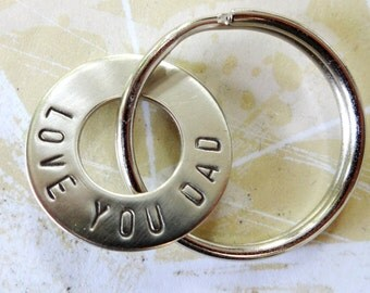 DAD keychain - Love You Dad Hand Stamped Nickel Silver Key Chain