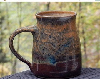 Earthy Brown Mug, 22 oz. Microwave friendly, Stoneware Speckled Multicolored comfortable