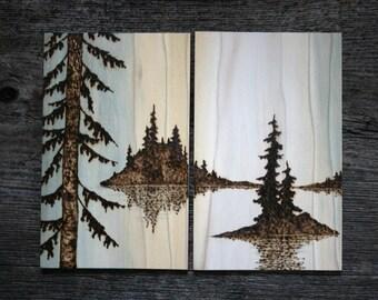 Islands Apart - Wood burning Art - Landscape Set