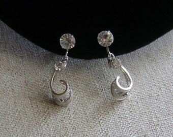 Vintage 12K Gold Filled Sterling Silver Elegant Faceted Crystal Charm Earrings