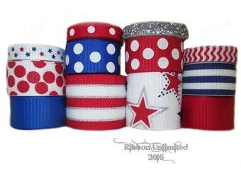 24 Yds Red, White, Blue, and SILVER STARS wholesale grosgrain ribbon collection Low Shipping Cost