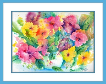 Watercolor Bouquet, Spring Bouquet, Colorful Flowers Watercolor, Pink Flowers, Yellow Flowers, Green Blue, Art With Heart, Martha Kisling
