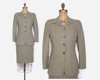Vintage 40s Houndstooth Suit / 1940s Brown and Green Wool Tailored Blazer Jacket & Pencil Skirt XS - S