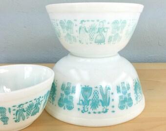 Pyrex Butterprint Cinderella Bowls, Pyrex Turquoise, Pyrex Nesting Bowls, Pyrex Mixing Bowl Set, Batter Bowl, Pyrex Cinderella Bowls, Amish
