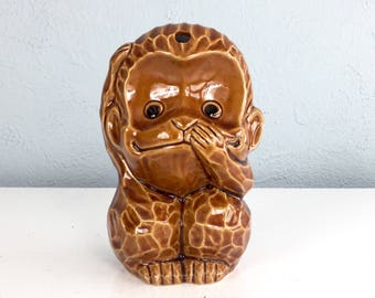 Vintage Ceramic Monkey Tiki Mug Made in Japan, Hear No Evil, See No Evil, Tea Light Candle Holder