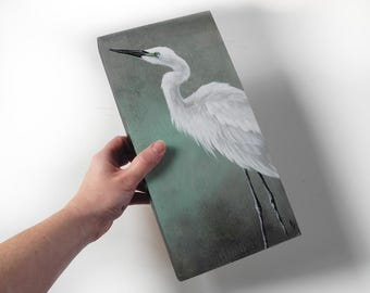 White Egret shorebird painting - realistic wildlife art - egret painting - wetlands marsh bird pair - neutral green blue