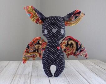 Bat stuffed toy, bat plushie, halloween bat, stuffed toy bat in grey, kawaii bat toy, unique stuffed animal, bat collector gift