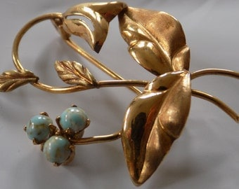 Vintage 750-14 KG and turquoise bell flower brooch, fine jewelry, estate jewellery