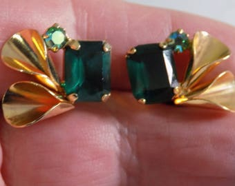 Elegant emerald green and AB crystal clip-on earrings, retro 1950s jewelry