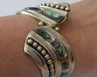 Vintage Alpaca Mexico wide 6 & 1/2 inch hinged cuff with abalone shell inlay ,mexican jewelry,jewellery