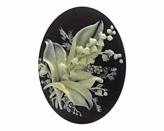 1pc cameos 40x30mm lily of the valley resin cameo flower bouquet cabochon Black Ivory diy plastic wedding favor supplies jewelry supply 934x