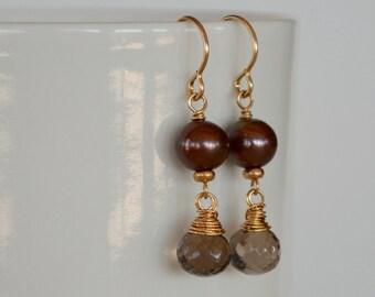 Chocolate Pearl Earrings,  Smoky  Quartz Earrings,  Brown Stone Earrings, Elegant Gold Filled Earrings, Gold Wire Wrapped Earrings