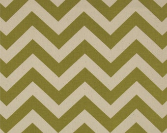 Premier Prints Olive / Natural Chevron Fabric