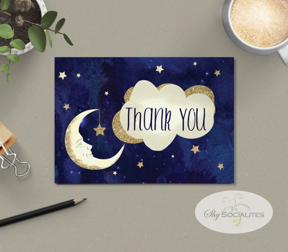 to the moon and back baby shower thank you card stars and