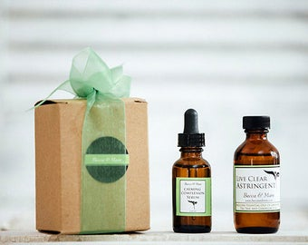 Skin Care Gift Set - Astringent + Facial Serum - Natural Skin Care Gift, Gift For Her