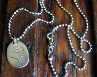 """Vintage Silver Tone Pewter Look Necklace Engraved Heart Pendant And 30"""" Chain Rustic Boho Hippie 1980's"""