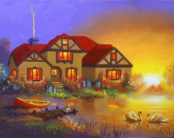 Swans House landscape 24x36 (61 x 91 cm) oils on canvas painting by RUSTY RUST / S-131