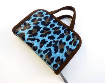 Bible Cover for NWT Grey JW Regular Size Bibles, in Blue and Black Jaguar Print, by Vic Von Pip