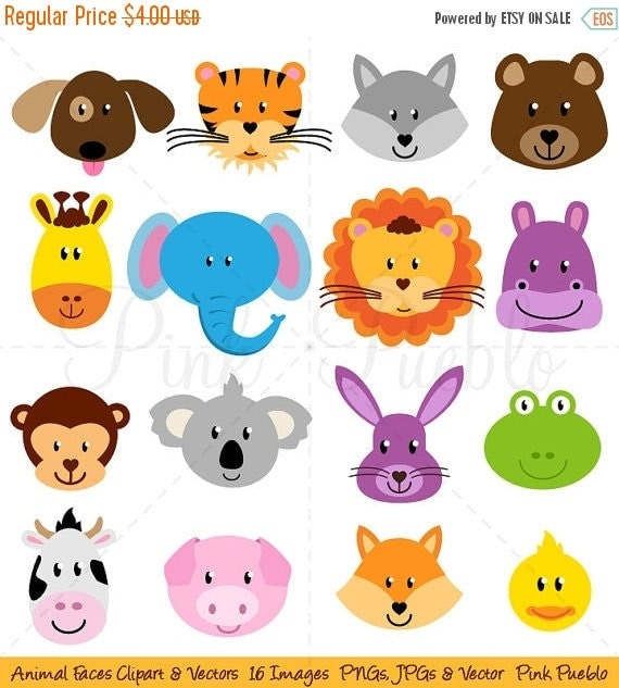 TEACHER SALE Animal Faces Clipart Clip Art Zoo Jungle Farm