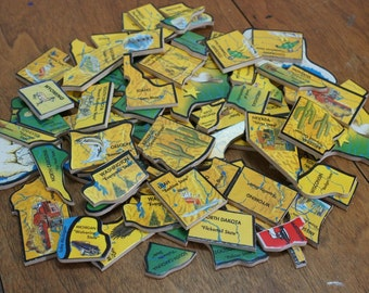 Wooden US State Puzzle Pieces Craft Lot of 78