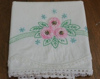 Vintage Pink Embroidered Pillow Case