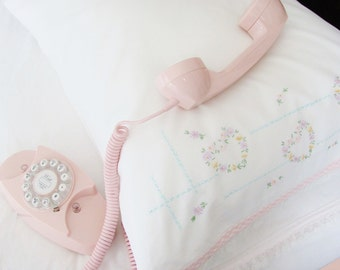Vintage Pillowcase With Floral Hearts Cross Stitch Embroidery Gingham Lace Edging Pastel Colors On White