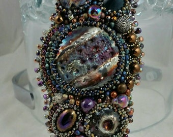 SPACE JAM  MAKU raku futuristic,bohemian, and textured bead embroidery wearable art cuff  borosilicate glass