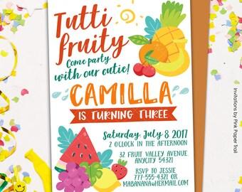 Tutti Fruity Birthday Invitation, Tropical, Fruity Party, Pineapple Watermelon Orange Lemon Stawberry Birthday Party Printable Invitation