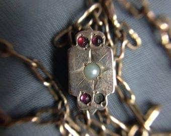 ON SALE!! Victorian Rose Gold Watch Slide Chain with Rubies and a Pearl
