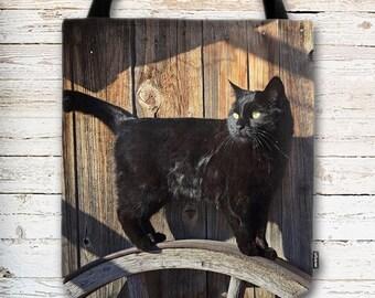 Black Cat Tote Bag, Cat Tote Bag, Black Cat, Barn Wood Background, Black Cat Bag, Country Cat, Reusable Bag, Market Bag, Eco Friendly Bag