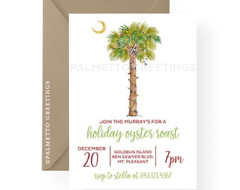 printed set of 50 holiday party invitations watercolor palm tree christmas lights christmas at - Palm Tree Christmas