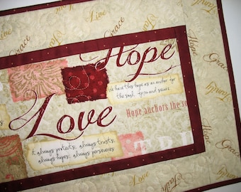 Easter Table Runner, Table Topper, Bible Verses, quilted, focus fabric from Wilmington Prints