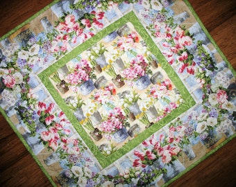 Floral Table Topper, Spring, Summer fabric Wilmington Prints, handmade