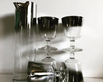 Midcentury Dorothy Thorpe Ombré Silver Rimmed Martini Pitcher and Glasses