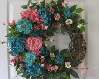 Pink & Turquiose, Spring Wreath, Summer Door Wreath, Front Door Wreath, Home Decor, Gift Wreath, Hydrangeas, Peonies, Grapevine Wreath
