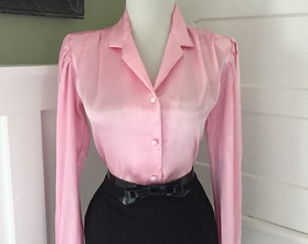 Flirty Vintage 1950s 1960s Atomic Pink Long Sleeve Button Down Blouse Shirt