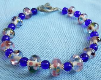 Handmade Lampwork Glass Bead Bracelet With Mermaid Clasp