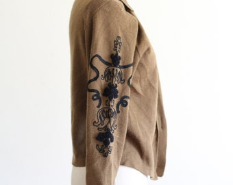 Vintage Double Breasted Cardigan / Wool Blend / High Fashion
