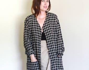 Vintage Grid Printed Blazer / Slouchy / Oversized / Minimal Vintage M L