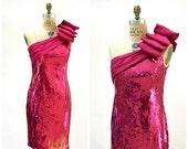 Sale 15% off Vintage 80s Pink Sequin Dress Size Medium Large// 80s Party Prom Dress Pink Sequin Dress Small Barbie Pageant by LIllie Rubin A
