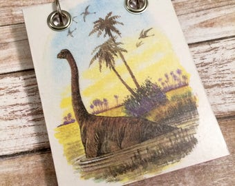 Recycled Notebook - Small Refillable Notepad - Dinosaur - Animal Notebook - Small Journal