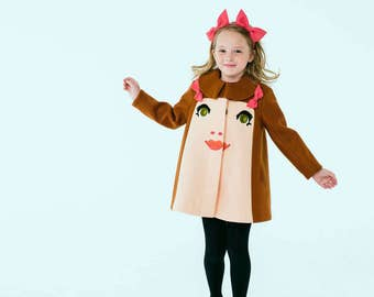 Girl's Chloe Coat// Woolfelt Girls Dress Coat// Chloe Coat// Handmade Girls Face Coat// Girl's Holiday Dress Coat// Handmade Girls' Clothing