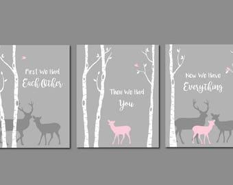 Deer Nursery Girl, Pink and Grey Nursery, Deer Wall Art, Deer Print,Baby Girl Room, Girl Nursery Wall Art, Woodland Nursery, Modern Wall Art