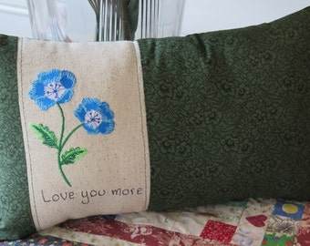 Love you more Embroidered pillow