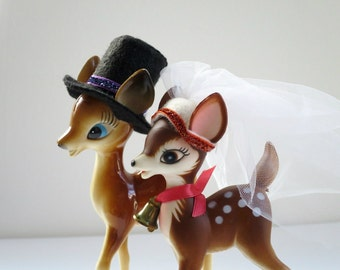 Bride and Groom Reindeer w Hats, Handmade Felted Wedding Veil and Top Hats, Wedding Hats for Dolls, Doll Veil and Top Hat for Deer Reindeer