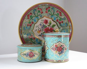 Vintage Daher Tin, Pink and Turquoise Storage Tins, Metal Serving Tray Pink Floral, Floral Biscuit Powder Storage Tins, Decorative Tins