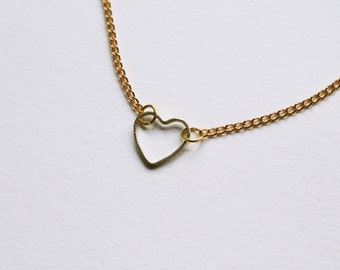 tiny dainty heart -necklace (gold or silver heart charm and gold plated chain minimal discrete neckpiece)