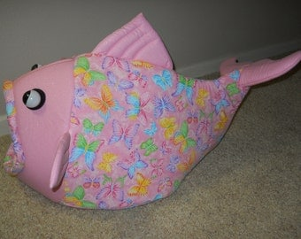 Fish Shaped Cat Bed Dog Bed Spring Butterflies Sparkling Pink